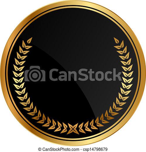 medal with gold laurels - csp14798679