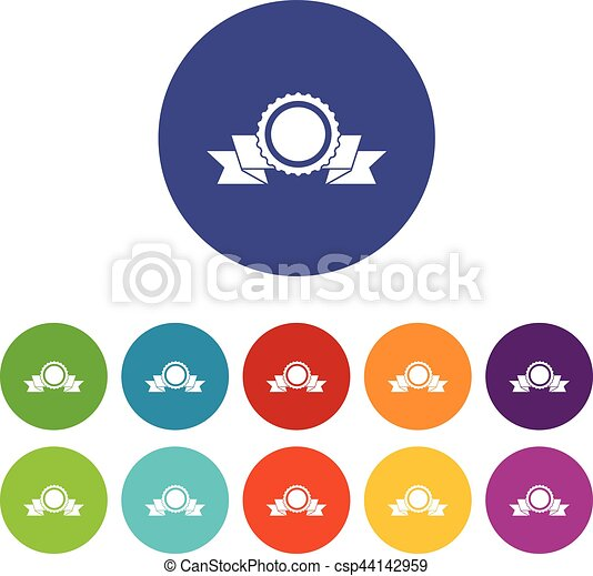 Medal with ribbon set icons - csp44142959