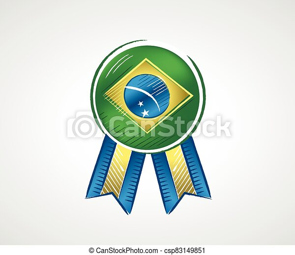 Medal with the flag of Brazil with bright colors - csp83149851