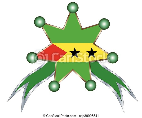 medal with the national flag of Sao Tome & Principe - csp39998541