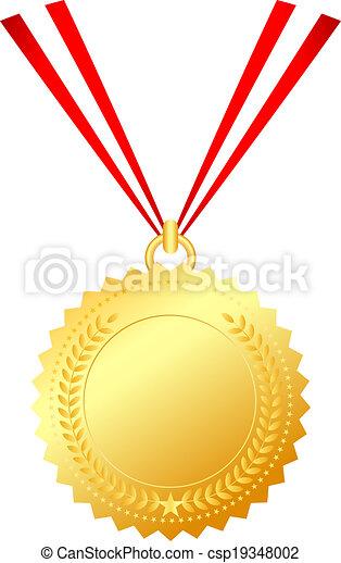 medalha, cadeia, ouro - csp19348002