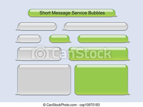 meddelande, kort, bubblar, service - csp10970183
