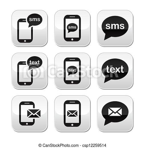 meddelande, sms, mobil, text, posta, knapp - csp12259514