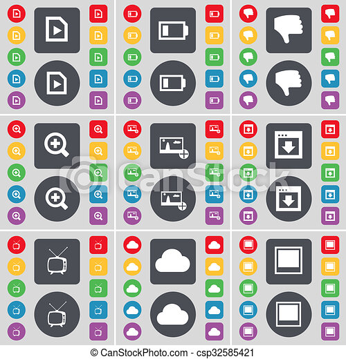 Media file, Battery, Dislike, Magnifying glass, Picture, Window, Retro TV, Cloud icon symbol. A large set of flat, colored buttons for your design. - csp32585421