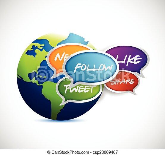 media, globo, sociale, comunicazione - csp23069467