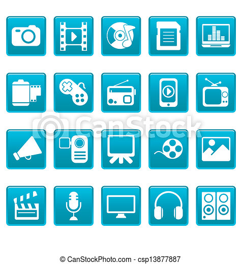 Media icons on blue squares - csp13877887