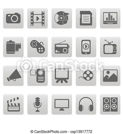 Media icons on gray squares - csp13917772