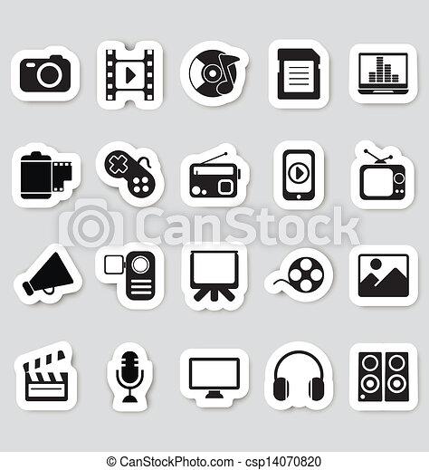 Media icons stickers - csp14070820