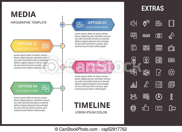 Media infographic template, elements and icons. - csp52917762