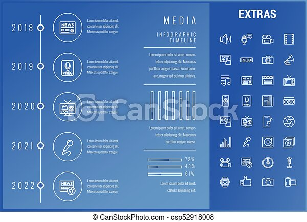 Media infographic template, elements and icons. - csp52918008