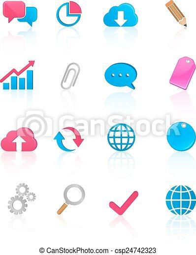 media, komunikacja, ikony - csp24742323
