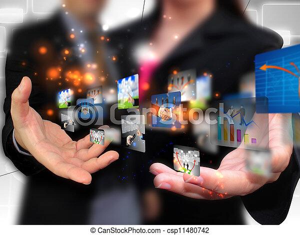 media, ludzie handlowe, dzierżawa, towarzyski - csp11480742