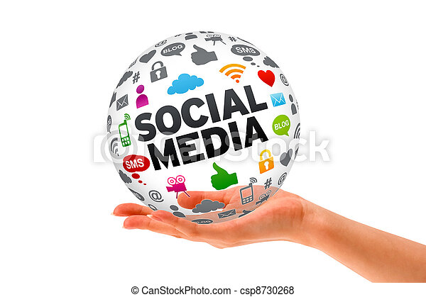 media, mano, sfera, presa a terra, sociale, 3d - csp8730268