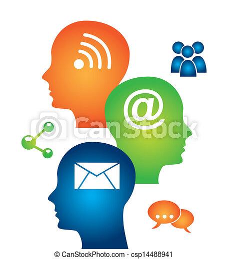 media, mente, sociale - csp14488941