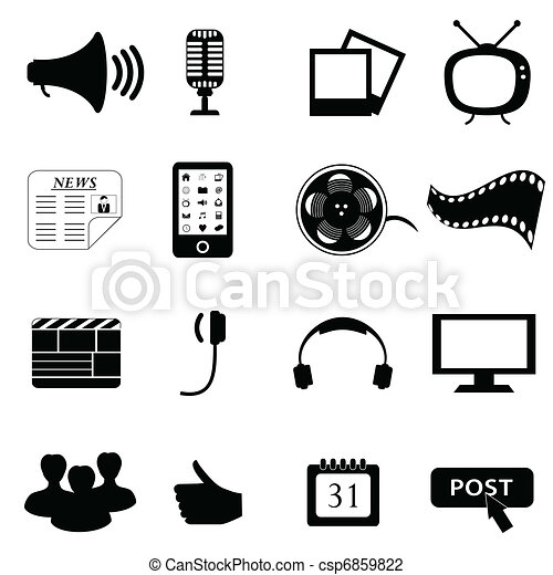 media, multimedia, o, icone - csp6859822