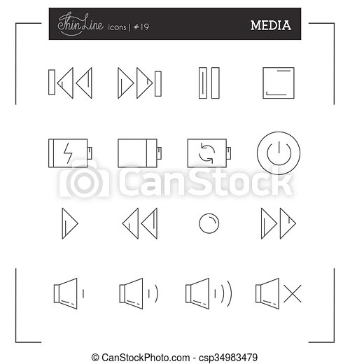 Media Player Buttons, Music interface and more thin line icons set. - csp34983479