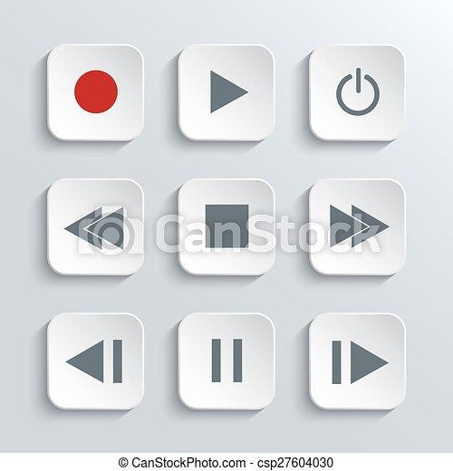 Media player control  icon set  - csp27604030
