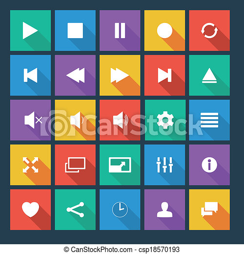 Media player flat vector icons with long shadow. - csp18570193