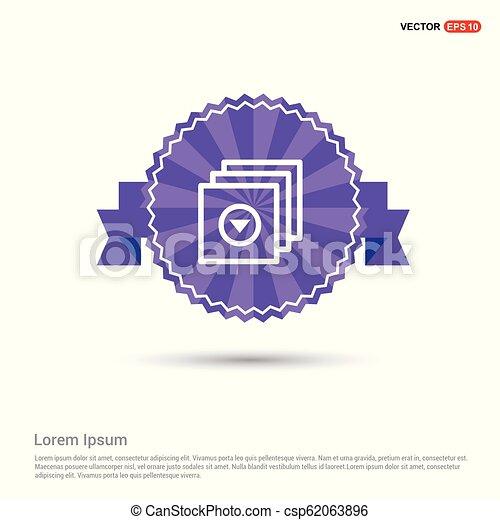 Media Player Icon - Purple Ribbon banner - csp62063896