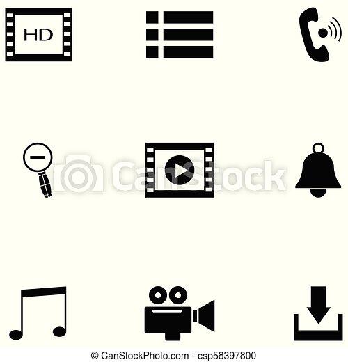 media player icon set - csp58397800