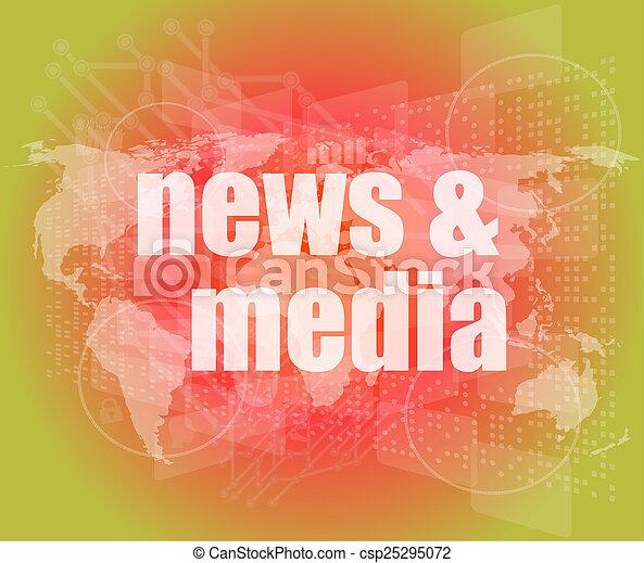 media, schermo, parole, digitale, premere, notizie, concept: - csp25295072