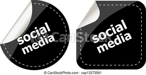 media, set, adesivi, sociale - csp13373561