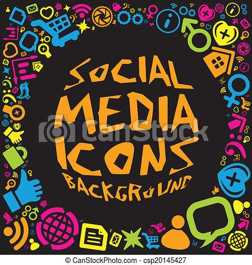 media, sociaal, achtergrond, pictogram - csp20145427