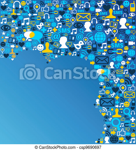 media, sociaal, netwerk, achtergrond, pictogram - csp9690697