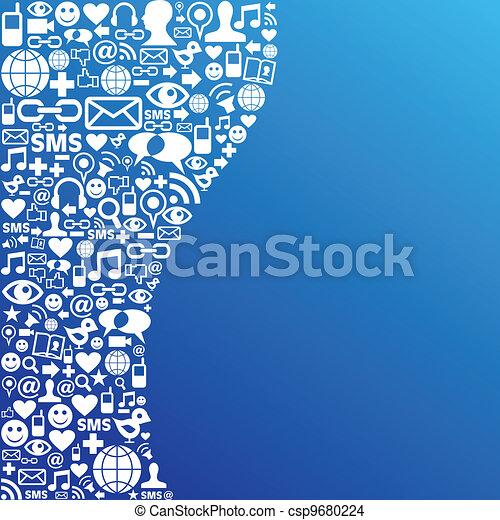 media, sociaal, netwerk, achtergrond, pictogram - csp9680224