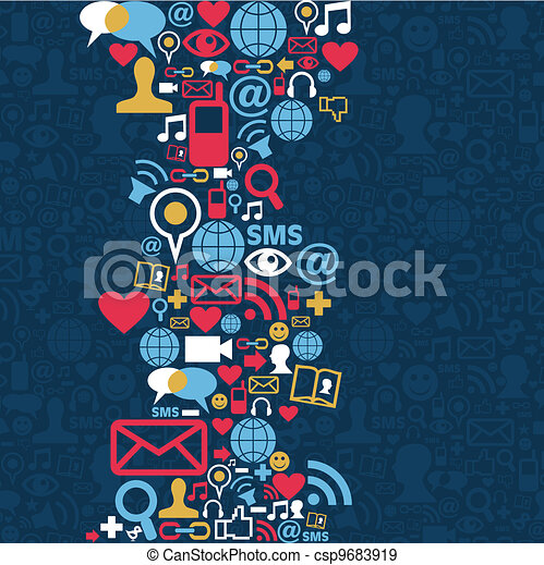 media, sociaal, netwerk, achtergrond, pictogram - csp9683919