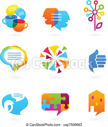 media, sociaal, netwerk, verzameling, iconen - csp7506663