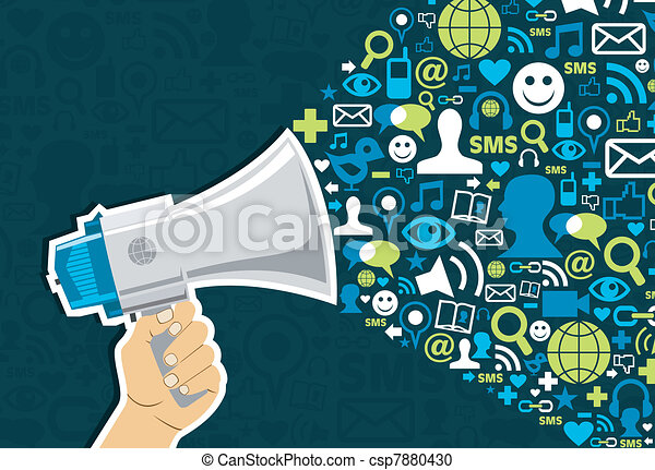 media, sociale, marketing - csp7880430
