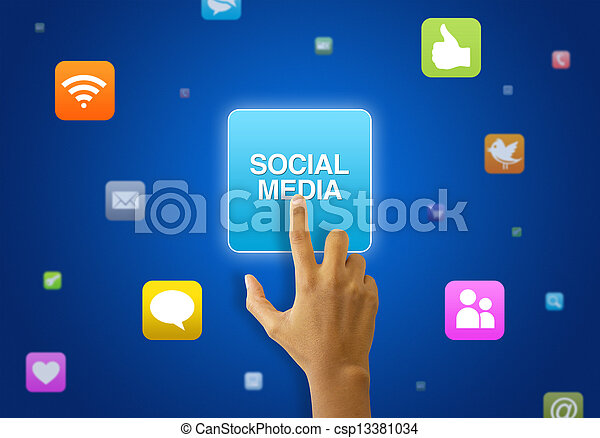 media, touchscreen, sociale - csp13381034