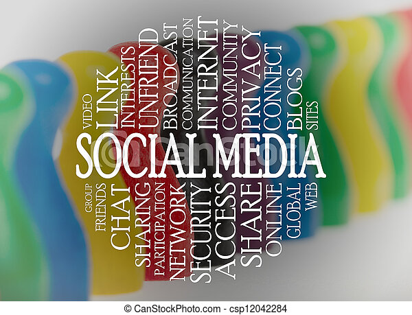 media, woord, wolk, sociaal - csp12042284