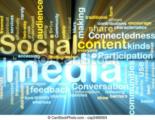 media, wordcloud, gloeiend, sociaal - csp2466564