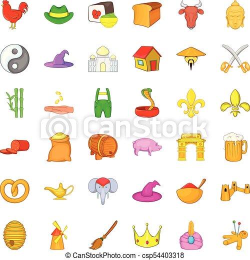 Mediaeval icons set, cartoon style - csp54403318