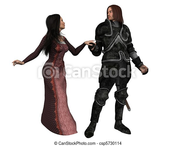 Mediaeval Knight and his Lady - csp5730114