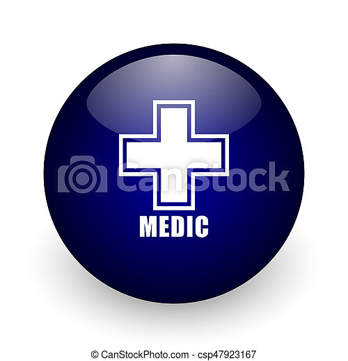 Medic blue glossy ball web icon on white background. Round 3d render button. - csp47923167