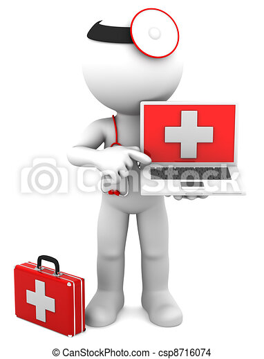 Medic with laptop - csp8716074