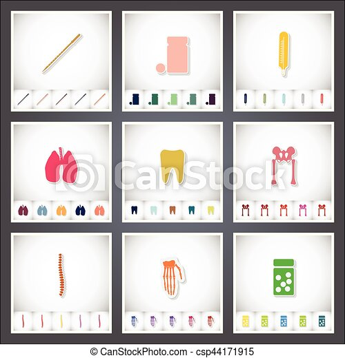Medical. A set of flat stickers with shadow on white background - csp44171915