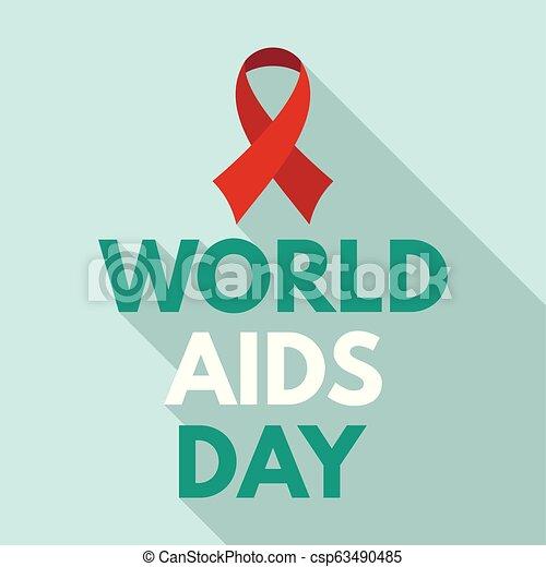 Medical aids day logo set, flat style
