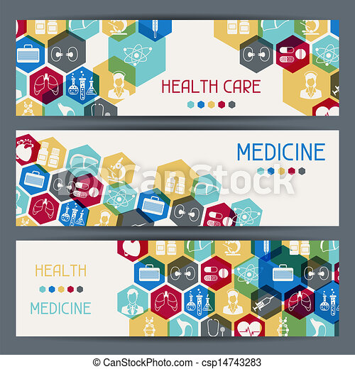 Medical and health care horizontal banners. - csp14743283