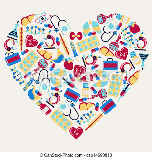 Medical and health care icons in the shape of heart. - csp14690813