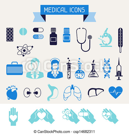 Medical and health care icons set. - csp14682311