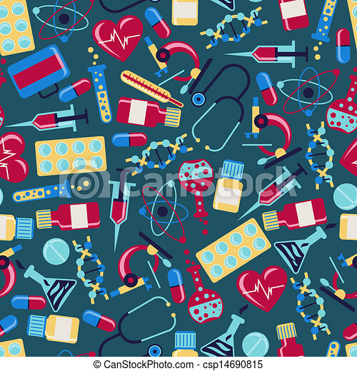 Medical and health care seamless pattern. - csp14690815