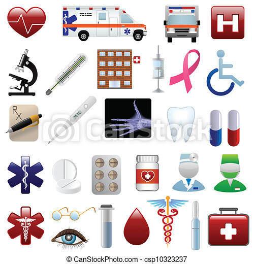 Medical and hospital icons set - csp10323237