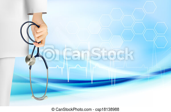 Medical background with hand holding a stethoscope. Vector. - csp18138988