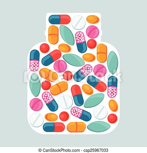 Medical background with pills and capsules in shape of bottle - csp25967033