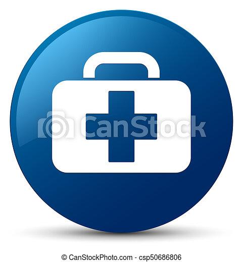 Medical bag icon blue round button - csp50686806