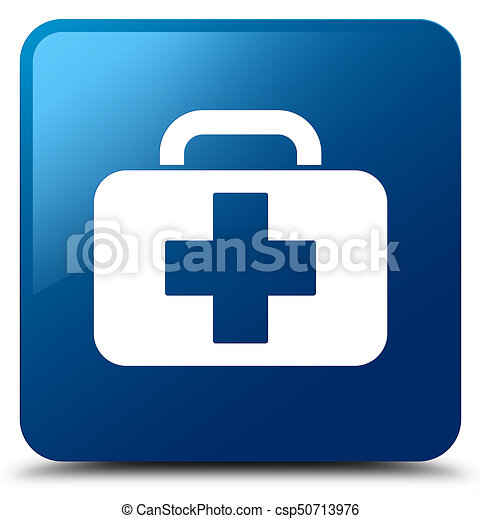 Medical bag icon blue square button - csp50713976